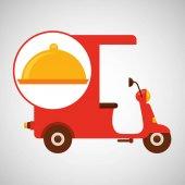 Delivering motorcycle food platter vector illustration eps 10