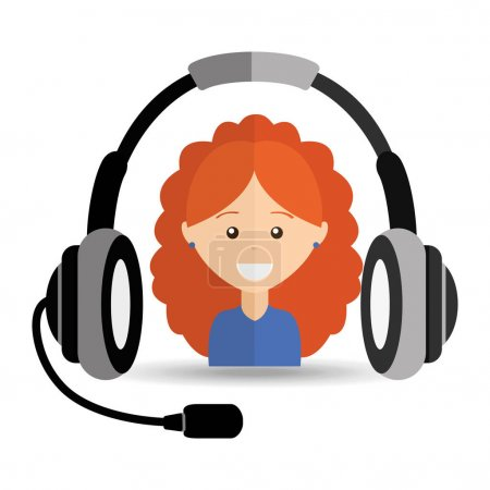 girl curly hair headphones for support
