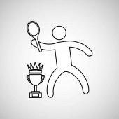 Silhouette person tennis winner sport vector illustration eps 10