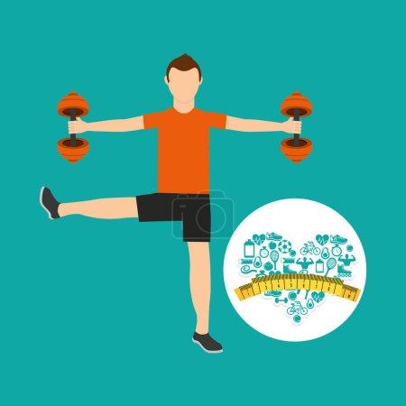 heart weight loss sport male lifting dummbell