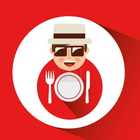 tourist man with camera and restaurant symbol