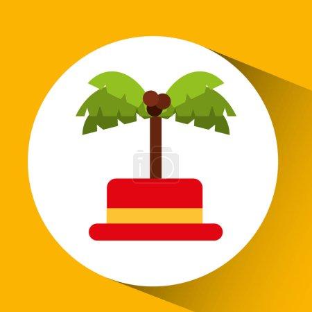 Illustration for Travel tourist hat concept coconut tree vector illustration eps 10 - Royalty Free Image