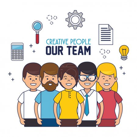 Illustration pour Créatifs notre équipe vecteur illustration design - image libre de droit
