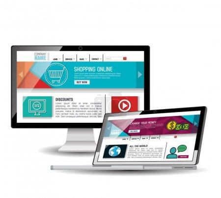 Illustration pour Modèle de site Web dans la conception d'illustrations vectorielles d'appareils électroniques - image libre de droit