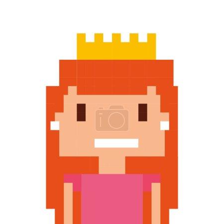 pricess girl pixelated icon