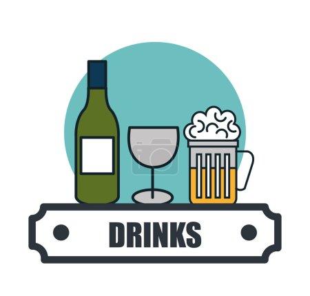 Drinks menu restaurant isolated icon