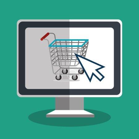 Illustration pour Boutique en ligne shopping conception d'icône vector illustration - image libre de droit