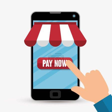 Illustration pour Boutique en ligne shopping icône vectoriel illustration design - image libre de droit
