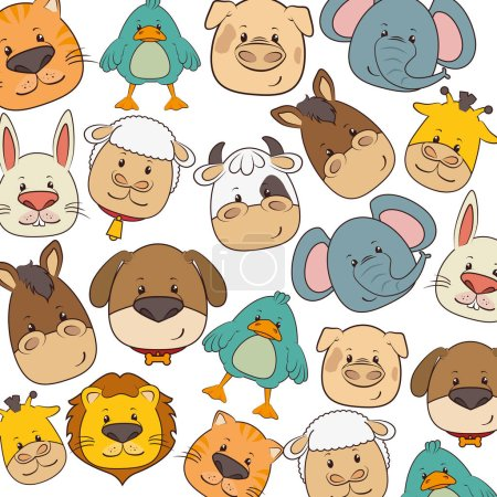 cute animals heads pattern
