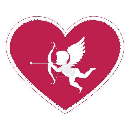 Illustration pour Dessin d'illustration vectoriel de carte d'amour ange cupide - image libre de droit