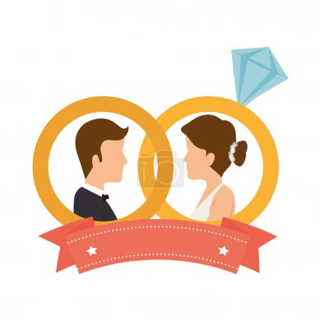 Illustration for Just married couple card vector illustration design - Royalty Free Image