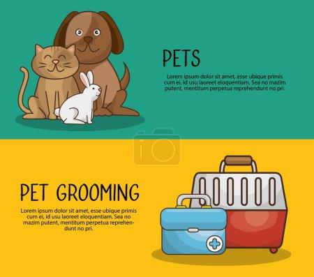Illustration pour Groupe animaux animalerie vecteur illustration conception - image libre de droit