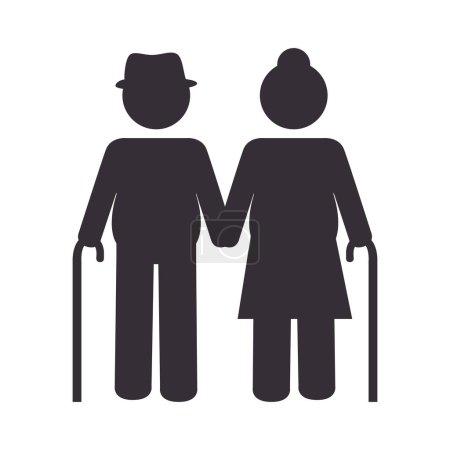 Großelternpaar Silhouette-Ikone