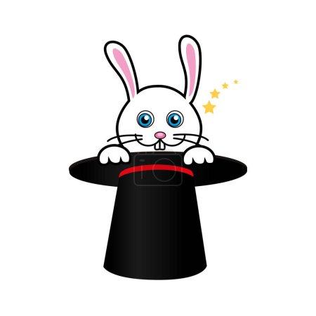 Illustration pour Lapin mignon avec chapeau magique vecteur illustration design - image libre de droit