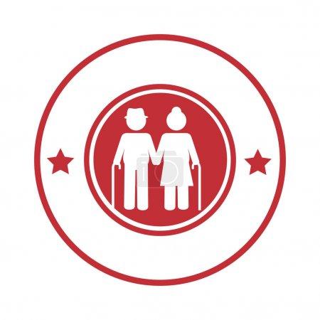 Rundumbande mit Piktogramm älteres Ehepaar mit Gehstock