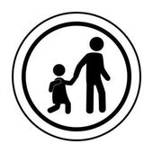circular contour road sign for students school