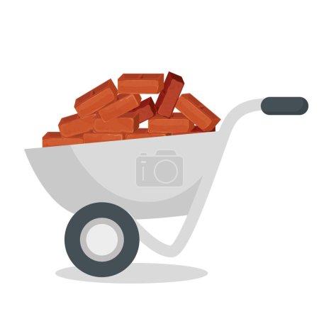 wheelbarrow construction with bricks