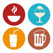 Colorful food icons.