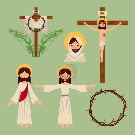Illustration for Set of icons christianity religious symbol vector illustration - Royalty Free Image