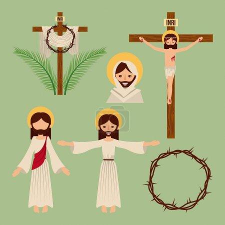 Illustration pour Ensemble d'icônes christianisme symbole religieux illustration vectorielle - image libre de droit