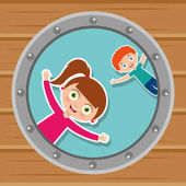cute kids in the round window happy