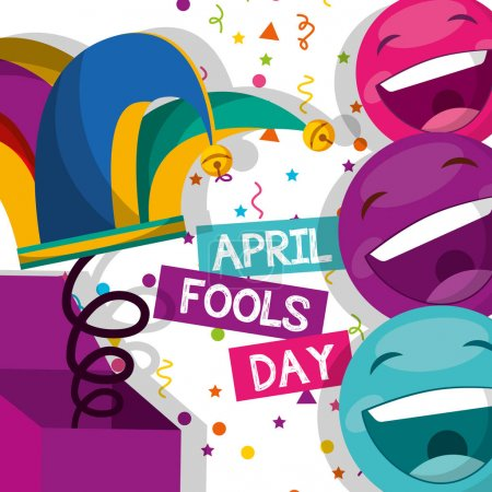 Illustration for Jester hat and emoticons confetti - april fools day vector illustration - Royalty Free Image