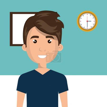 Illustration pour Jeune homme en classe personnage scène vecteur illustration conception - image libre de droit