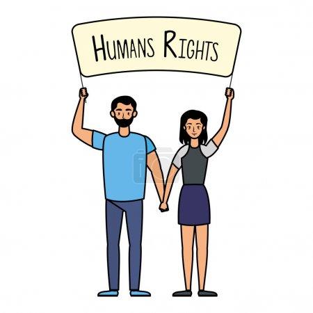 Illustration pour Jeune couple amoureux avec des droits de l'homme label vecteur illustration design - image libre de droit