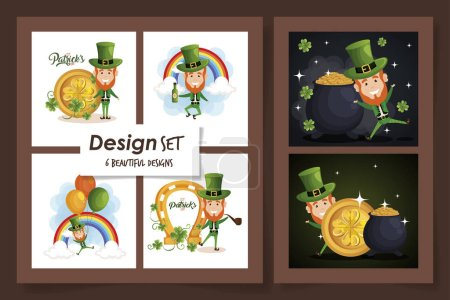 Illustration for Set six designs of st patricks day with leprechaun and icons vector illustration design - Royalty Free Image