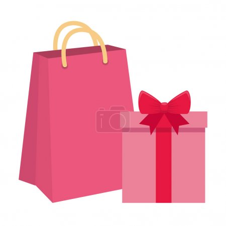 Illustration for Gift box with bag shopping isolated icon vector illustration design - Royalty Free Image
