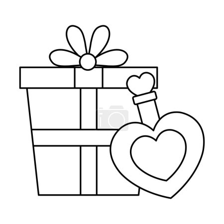 Illustration for Gift box and fragrance with heart bottle vector illustration design - Royalty Free Image