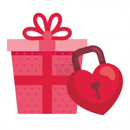 Illustration for Gift box with padlock in shape heart isolated icon vector illustration design - Royalty Free Image