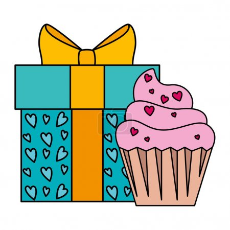 Illustration for Gift box with cupcake isolated icon vector illustration design - Royalty Free Image