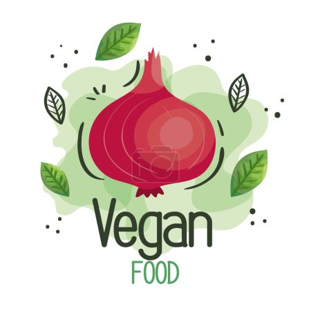 Vegan food poster with onion and leafs vector illu...