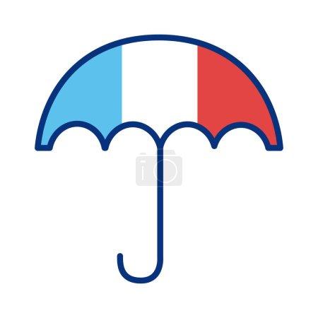 Illustration pour Parapluie avec france drapeau ligne style vectoriel illustration design - image libre de droit