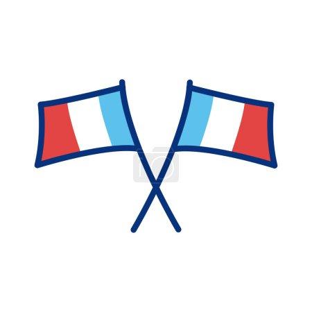 Illustration pour France drapeaux ligne style icône vectoriel illustration design - image libre de droit