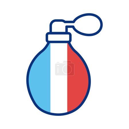 Illustration pour Bouteille de parfum avec france drapeau ligne style vectoriel illustration design - image libre de droit