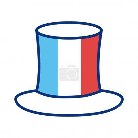 Illustration pour Chapeau haut de forme avec illustration vectorielle de style ligne drapeau france - image libre de droit