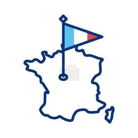 Illustration pour France drapeau et carte style ligne vectoriel illustration design - image libre de droit
