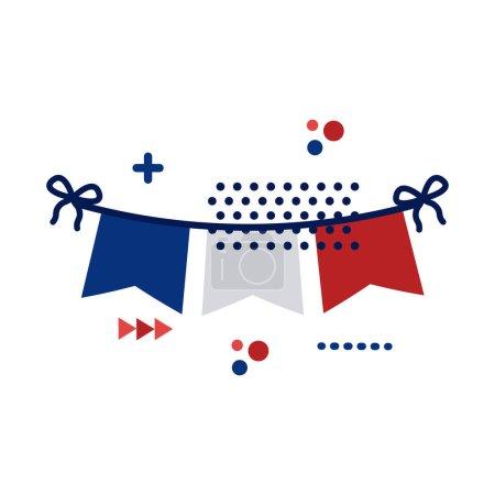 Illustration pour Guirlandes avec drapeau france dessin d'illustration vectorielle de style plat - image libre de droit