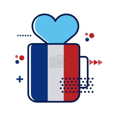 Illustration pour Drapeau france en tasse avec motif d'illustration vectorielle style coeur plat - image libre de droit