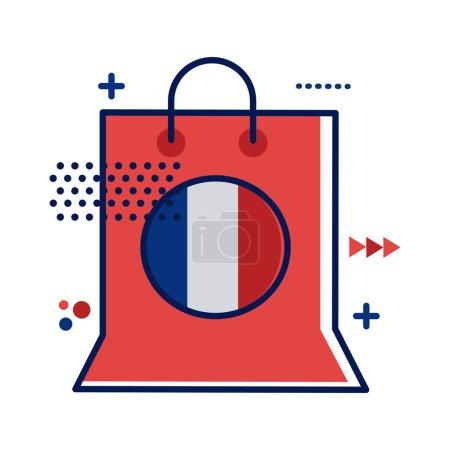 Illustration pour Sac à provisions avec dessin d'illustration vectorielle style plat drapeau france - image libre de droit