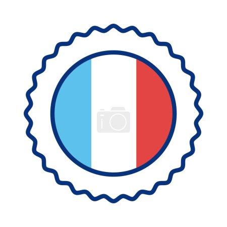 Illustration pour Dentelle avec france drapeau ligne style icône vectoriel illustration design - image libre de droit