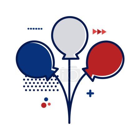 Illustration pour Ballons hélium avec france drapeau couleurs plat style vectoriel illustration design - image libre de droit