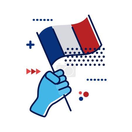 Illustration pour Main avec drapeau france style plat vectoriel illustration design - image libre de droit