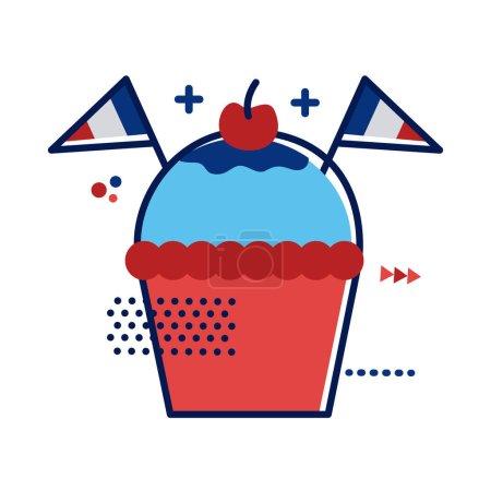 Illustration pour Cupcake avec france drapeaux plat style vectoriel illustration design - image libre de droit