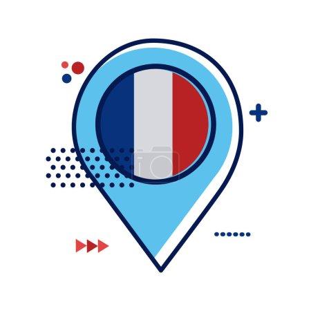 Illustration pour Emplacement de la broche avec drapeau france conception vectorielle d'illustration de style plat - image libre de droit