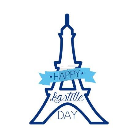 Illustration pour Eiffel bastille jour lettrage ligne style vectoriel illustration design - image libre de droit