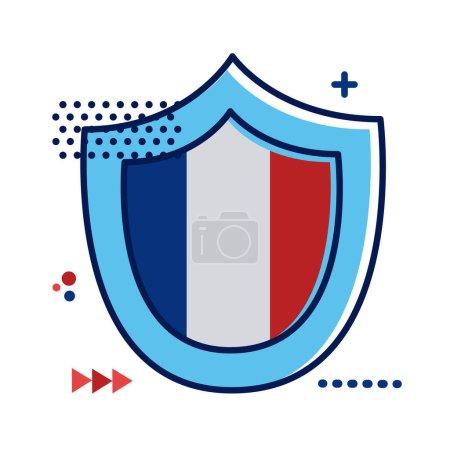 Illustration pour Bouclier avec drapeau france dessin d'illustration vectorielle de style plat - image libre de droit