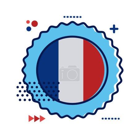 Illustration pour Dentelle avec drapeau france style plat icône vectoriel illustration design - image libre de droit